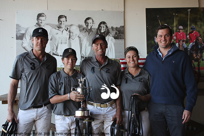 Winners of the Dougal Archibald Cup - Ellerston: L-R: James Harper, Jack Grimes, Jeff Fisher and Treen Murphy with Sam Archibald.