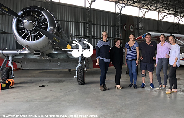 Doing a recee in the hanger: Meryan McRoberts, Jane Callinan, Geraldine Moses, Ross Pay, Charlotte Parry-Okeden and Polly Yuille.