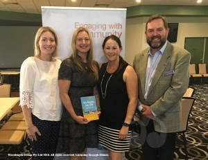 Nicole Ziebell, Natalie Dugan, Caitlyn Easey and David Martin at the My Home, My Life book launch.