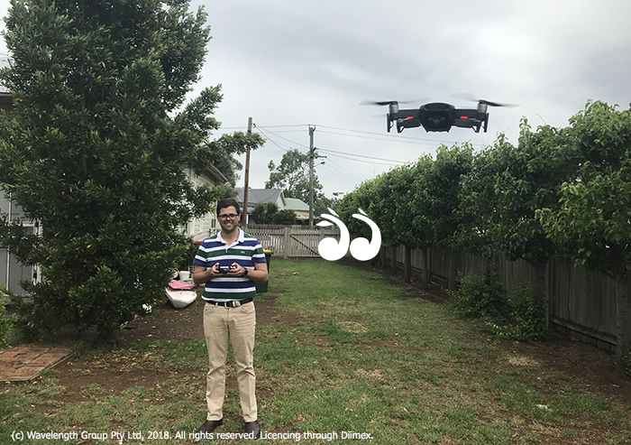 Mac Dawson, flying the drone which is the subject of a police investigation in Scone.