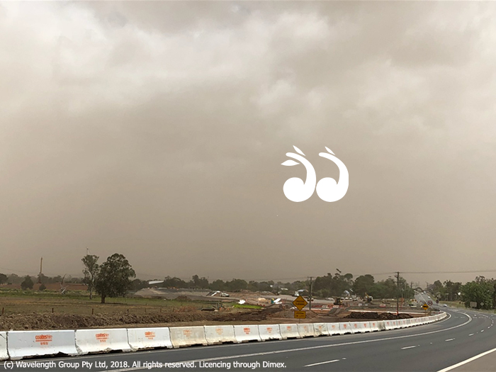 The dust storm viewed from the south of Scone.