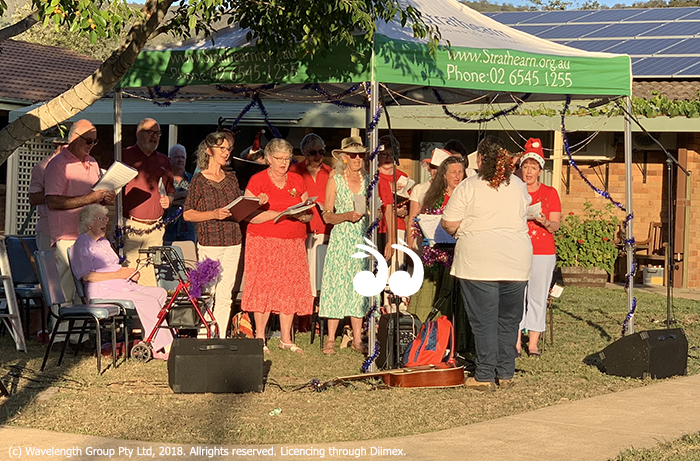 The Scone Singers led the carollers at Strathearn on Sunday.