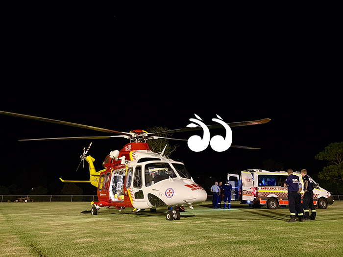 The Westpac on scene to treat a pilot who made a forced landing in Aberdeen.