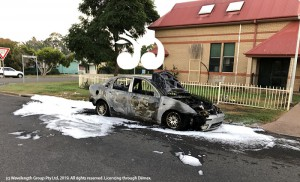 The car in Birrell Street, which caught alight in the early hours of Saturday monring.