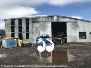 The Bloom's Automotive shed in Muffett Street, which was destroyed by fire on Saturday night.