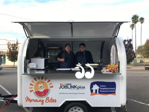 Ready to serve breakfast to local school children: Ebony Laithwaite and Jo Wilson, in the Morning Bites van.